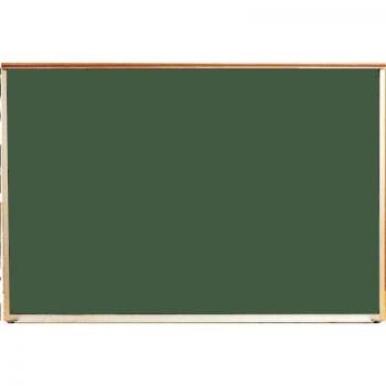 A green porcelain chalkboard with a wood frame for a school.
