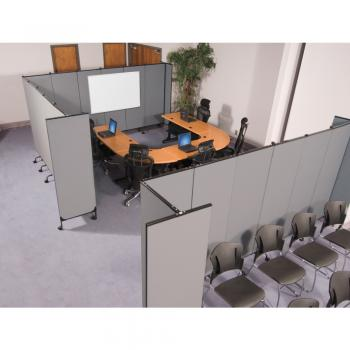Folding room dividers can be used to create office spaces.