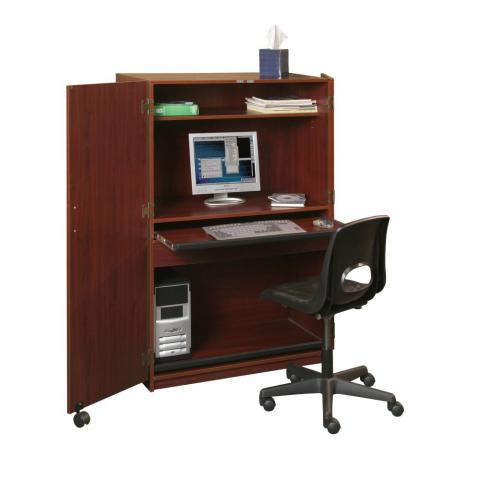 A Computer Desk Hutch Is Displayed With A Computer And Desk Chair.