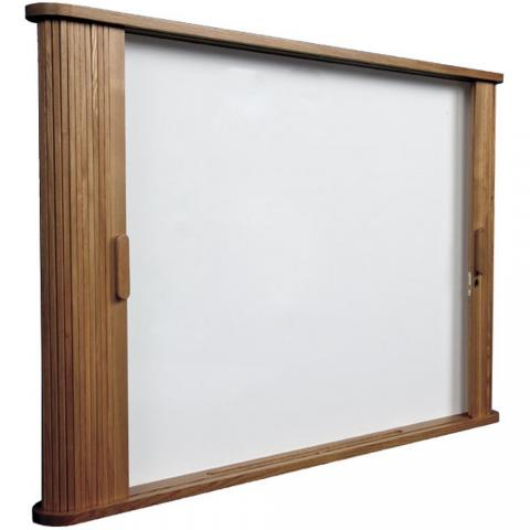 Good The Sliding Doors On The Dry Erase White Board Cabinet Are An Elegant  Solution For Boardrooms