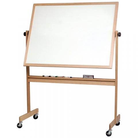 a free standing wooden framed whiteboard on casters