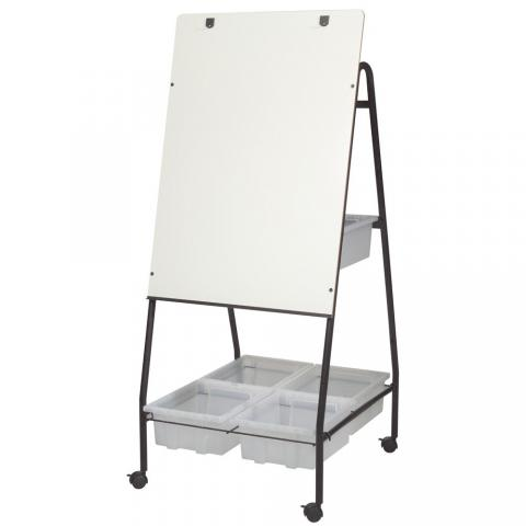 a dry erase whiteboard on an easel has brass hooks for flip chart display - Whiteboard Easel