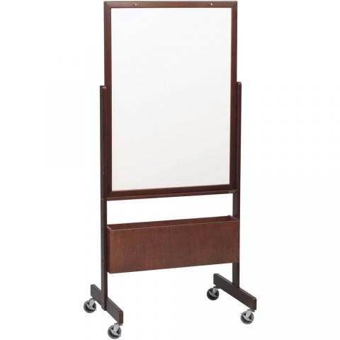 a rolling whiteboard either melamine or porcelain covered steel stands on a solid wooden - Whiteboard Easel