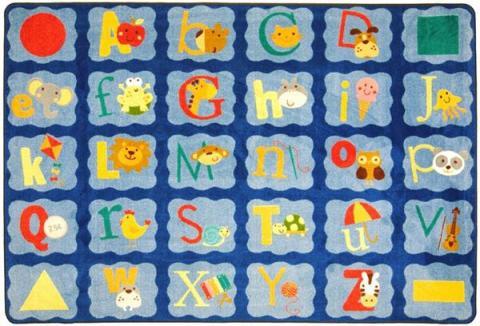 A Rectangle Shaped Alphabet Blues Alphabet Rug For A Classroom.