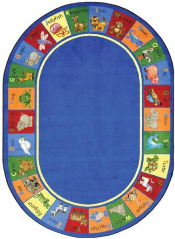 An Oval Shaped Animal Area Rugs For Kids.