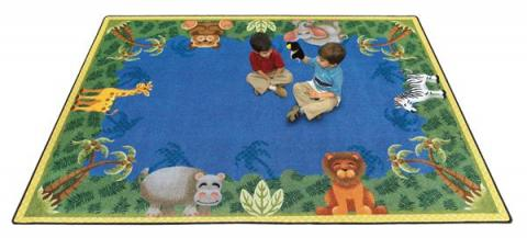 A Side Display Shows The Brilliant Colors That Are Guaranteed Not To Fade For Years After Prev Next Large Clroom Animal Rug