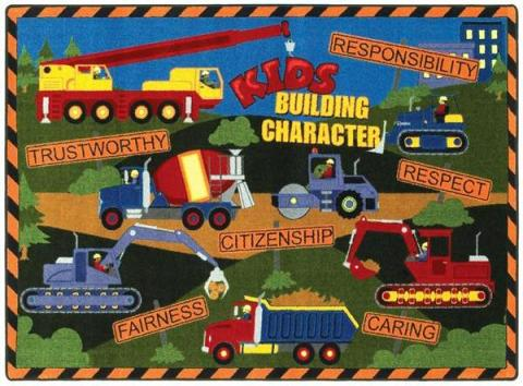 A Tractor Nursery Rug For Boys Is Displayed.