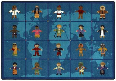 A View Of The Front Of The Kids Rug Depicting Children From Around The  World And