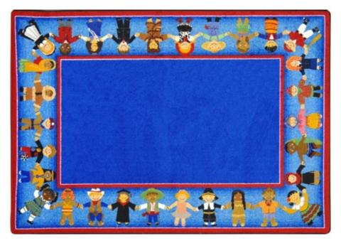 Wonderful A Rectangular Blue Rug For Children Is Displayed.