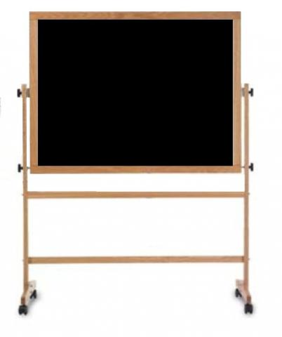 Economy Rolling Free Standing Chalkboard Black With Wood