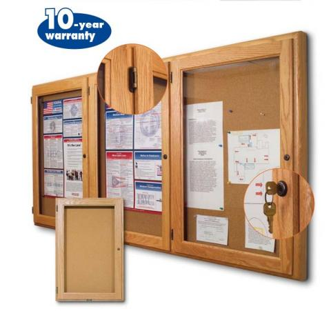 solid oak wood framed cork boards are enclosed by tempered safety glass with tumbler pin locks