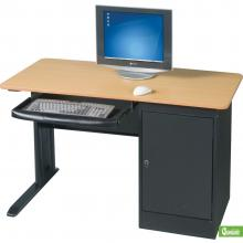 A single person computer workstation is displayed with a black frame and natural wood laminate top.