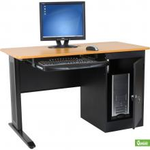 A single person computer workstation is displayed with a black frame and natural wood laminate top with a computer CPU and monitor.