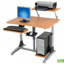 A sit down or stand up adjustable computer workstation is displayed with a computer and printer.