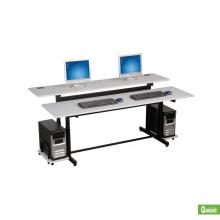 A black and gray two person computer workstation desk is displayed.