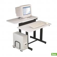 A single-user computer workstation desk is displayed.