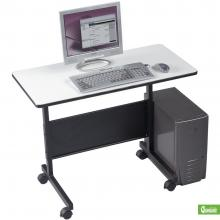 A compact desk for personal computer with a black base and light gray frame are displaced.