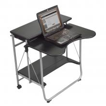 A black compact computer desk is displayed holding a laptop.