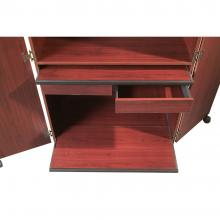 A retractable shelf and tray are displayed in a computer hutch desk.