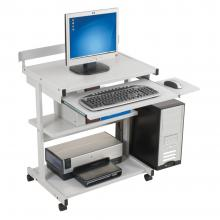 A grey compact desk is displayed with a CPU, keyboard and monitor.