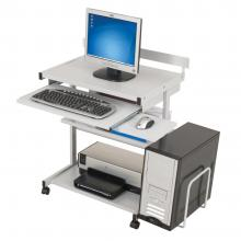 A grey computer desk is displayed with a CPU, keyboard printer and monitor.