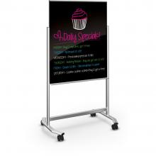 A double sided glass blackboard markerboard easel is displayed/