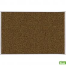 A large wall mounted cork board with aluminum frame available in multiple colors.
