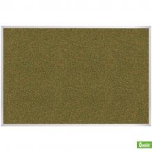 A large green aluminum framed cork board is displayed.