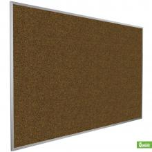 Classroom sized aluminum framed cork board in blue is displayed from the side.