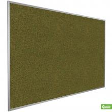 A large aluminum frame cork board for wall mount in green.
