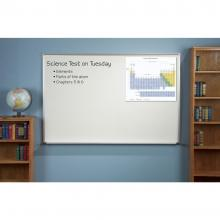 A white dry erase magnetic board is shown wall mounted. A photograph is held in the upper right hand corner by magnets.