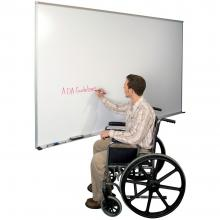 A large magnetic dry erase whiteboard with map rail is shown. It features a full length accessory tray and rubber end caps for safety.