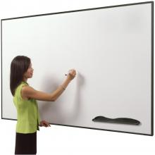A woman is shown standing in front of the dry erase magnetic porcelain steel whiteboard.