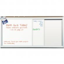 The magnetic dry erase whiteboard is displayed. It features two sliding porcelain steel panels on smooth aluminum tubing and a map rail,