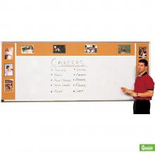 Classroom sized dry erase whiteboard combo with adjoining cork boards.