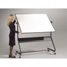 The freestanding magnetic dry erase whiteboard swivels 360 degrees and locks, allowing you to use both sides of the whiteboard without having to move the entire frame.