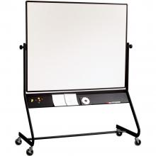 A big, double-sided whiteboard with a black rolling frame.