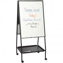 A free standing whiteboard with convenient underneath storafe.