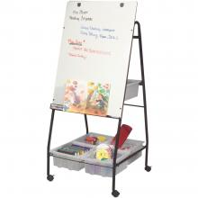A freestanding dry erase whiteboard sits on 3 inch casters for easy portability.