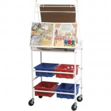 The back view of the rolling dry erase board features a shelf and four tubs for storage and organization.