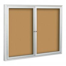 A double door community bulletin board that has a tumbler lock  that keeps you documents secure.