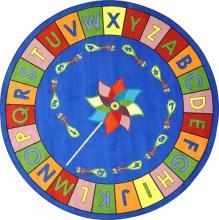 An circle shaped Alphabet Pinwheel ABC carpet for a classroom.