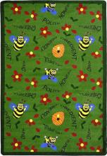 A rectangle shaped green childrens rug with bees for the classroom.