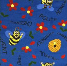 A close up of the Mr. Bee childrens rug.