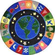 A circle shaped joy carpets earth rug.