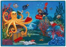 "A ""Fish Tales"" underwater scene carpets for kids rug."