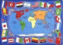Shown is a map of the countries around the world and a boarder of flags from the more popular countries.