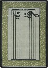 A rectangle shaped green music classroom school rug.