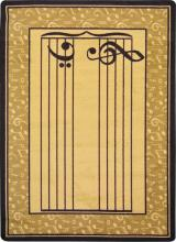 A rectangle shaped yellow music classroom school rug.