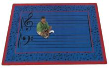A rectangle shaped blue music classroom school rug.